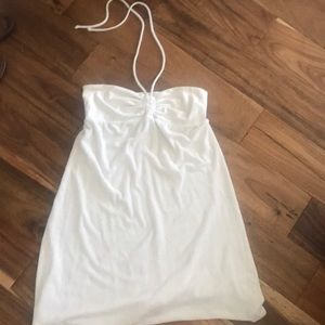 White Hard Tail terry cloth bandeau dress💟